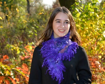 Felted purple scarf wool wrap collar art to wear nuno felt accessories women festival collar ultra violet neckwarmer fur wool wrap fur scarf