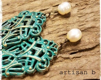 Teal Blue Filigree Vintage Inspired Antiqued Brass Earrings Handmade Freshwater Pearl
