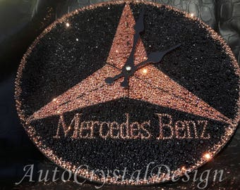 Mercedes-Benz Star Emblem Wall Clock Covered With Crystals