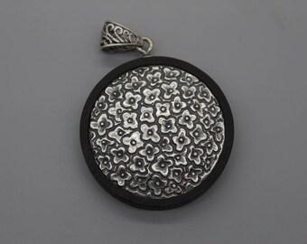40mm Sterling Silver and Sandalwood Flower Pendant,Wood Pendant,Round Pendant, Yoga Pendant, Yoga Jewelry