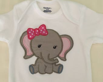 Embroidered Elephant Onesy