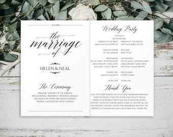 Wedding Programs Instant Download, Wedding Program, Program Template, Printable Program, Wedding Program Template Folded, Printable, BD-6041