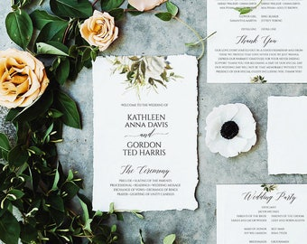 Boho Wedding Program, Wedding Program template, Rustic Wedding Program, Floral Wedding Program, Wedding Programs Instant Download, DIY, 6077