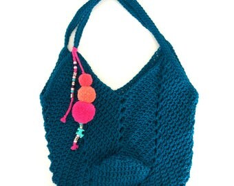 Crochet Tote Bag with pompoms