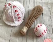 Baseball Sports Infant Newborn Baby Outfit Beanie Hat Toy Bat Ball Amigurumi Crochet Photography Photo Prop