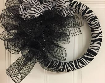 Zebra Fabric And Deco Mesh Wreath