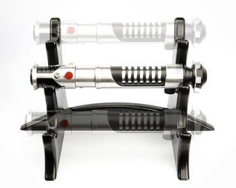 Lightsaber Stand - Triple Tier for 3 Hilts - Black Lacquer Painted Wooden Light Saber Hilt Holder Display  Handmade