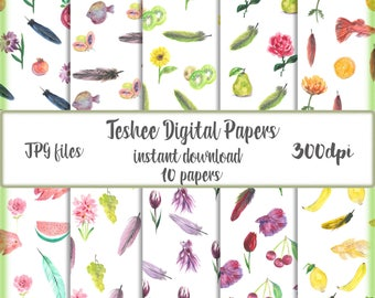 Instant download digital paper, Flowers, Feathers, Fruits Digital paper, Patterns Backgrounds Scrapbook paper, Pattern digital papers