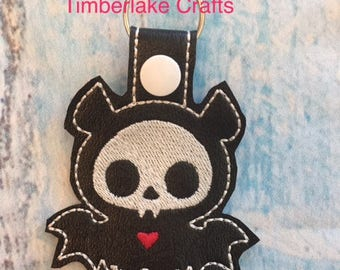 Bat skeleton key fob/key ring/zipper charm