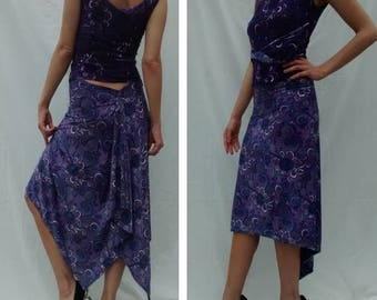 Tango dancing outfit - two-piece purple Arabesque pattern soft Lycra - scoop neck top & skirt with train - UK size 10