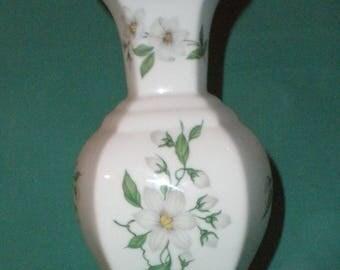 Crown Staffordshire, fine bone china vase/Clematis/Vintage/1950s/British