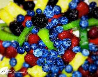 Fruit Tart Blueberries Pineapple Raspberries Kiwi Color Print Photo Wall Art