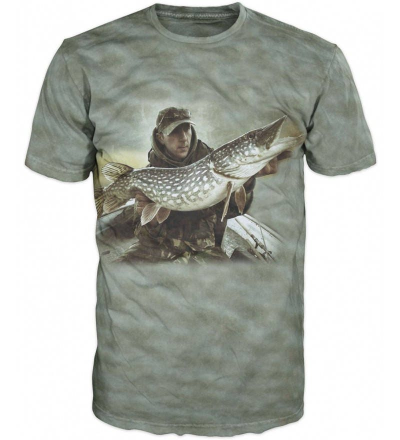 Cool 3d Sublimation Printed Pike Luce Fishing Mens T Shirt