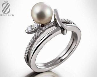 Modern Akoya Pearl & Diamond Engagement Ring in 18K White Gold - Diamond Ring - Bridal Ring