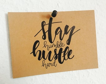 "jflow card / hand-written postcard ""stay humble"""