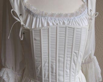 18th century , Georgian Stays  French corset Marie Antoinette in Coton in size S to L