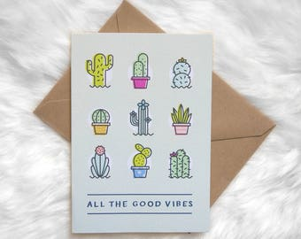 Good Vibes Cacti / Cactus Greeting Card! (plant-lady, jungalow, cactus-lover, plants, potted plants card, thinking of you, sending love)
