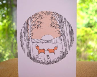 Two Foxes At Sunset Card