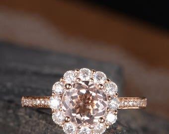Floral Ring Antique Engagement Ring Rose Gold Morganite Wedding Bridal Ring Moissanite Halo Diamond Pave Half Eternity Flower Anniversary