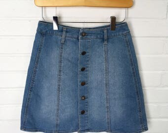 Vintage Button Up Jean Skirt