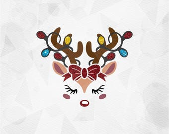 Reindeer face SVG Reindeer svg with bow and lights Cricut Silhouette - pdf png svg dxf - Rudolph Red nose Cut file Clipart Holiday Christmas