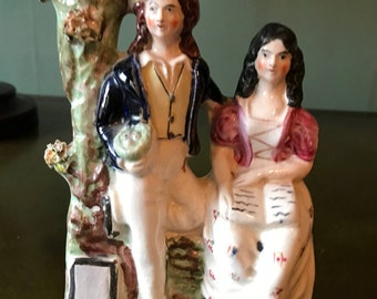 Antique English Staffordshire Figural Spill Vase