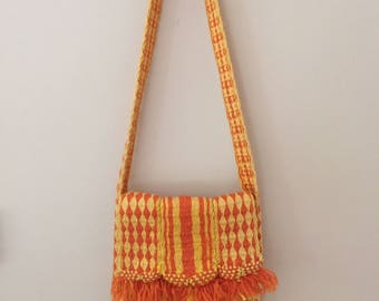 1960's Vintage Orange and Yellow Woven Shoulder Bag with Fringe