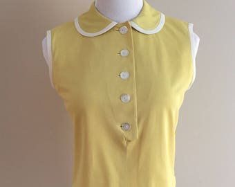 Late 1950's-Early 1960s Vintage Butter Yellow Top With Side Zipper