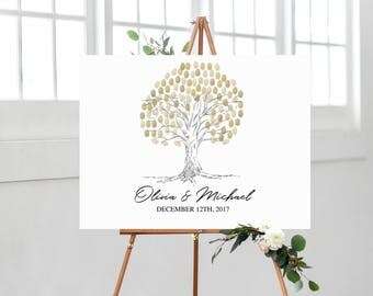 Fingerprint Tree Guest Book | Printable Fingerprint Guestbook | Wedding Tree Guest Book  | Thumbprint Guestbook | Tree Fingerprint Book