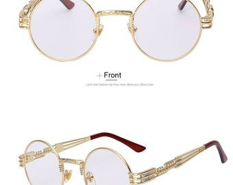 New Metal Spring Gold Frame Round Steampunk Glasses with Clear Lens Unisex Sunglasses Non Prescription