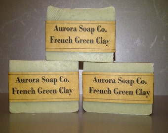 3 Soap Bars - French Green Clay w/ Shea Butter - Handcrafted Artisan Soap Bars