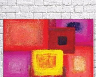 Large canvas art, Abstract Art, abstract painting, canvas print, canvas painting, Modern, Contemporary art, pink, red, yellow