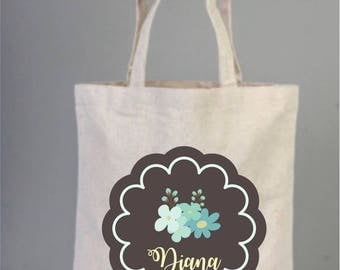Bridal Bags, Bridal Tote Bags, Rosette Weddings Tote with Ribbon, Bridal Shower Gifts, Personalized Tote, Bridesmaid Gifts, Cotton Bags