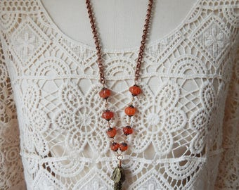 Hand-Carved Melon Bead Carnelian Solid Brass Copper Chain Boho Tassel Necklace