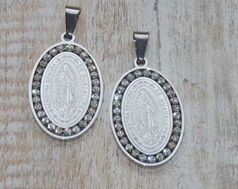 Lady of Guadalupe CZ Stainless Steel Charms