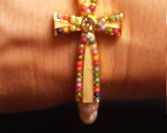 Fresh water pearl cross bracelet