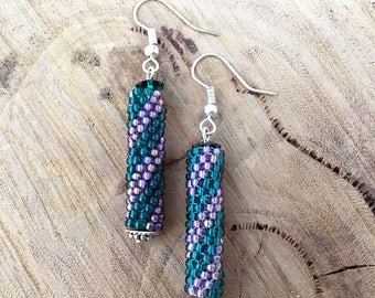 Green & purple diagonal striped dangle earrings, bead woven with silver plated hooks