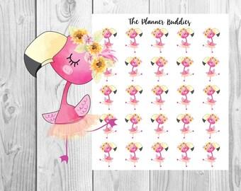 Poppy the Flamingo, Planner Stickers, Flamingo Planner Stickers, Dancing, Flower Child