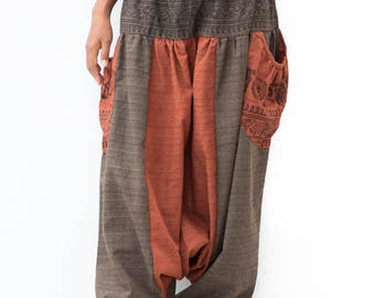 Aladdin Pants, Harem Pants drop crotch Pants, Boho Pants, Yoga Pants, Casual Pants, Buddhist Om Pants, Baggy Pants, men, women