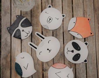 Animal Coaster - Set of 3 Ceramic Coasters - Mix & Match - Animal Coasters - Wildlife Coasters - Handmade Coasters - Drink Coasters - Gift