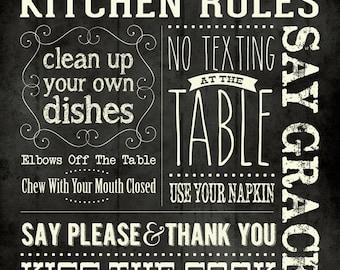 Kitchen Rules 12x12 PRINT
