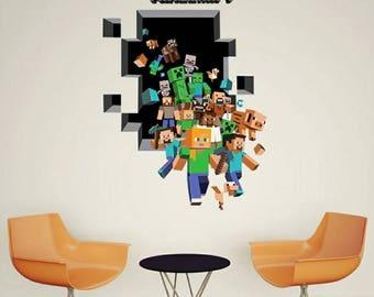 "1 Large Minecraft Gang 3D Wall Decal 19x27"" ~ Steve Ghast Creeper Pig #MC004"