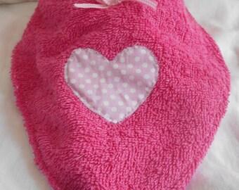 Bandana bib pink heart and small polka dots
