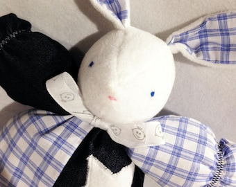 Blue and white Bunny rabbit plush toy