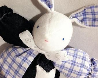 Blue and white Bunny rabbit plush toy
