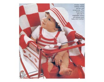 Playsuit Crochet Pattern with Hat & Cover - Striped Outdoor Baby Set