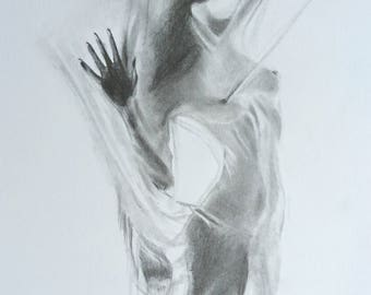 Drawing. Woman playing draped and shadows