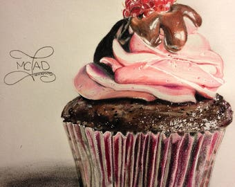 Drawing. Raspberry Chocolate Cupcake