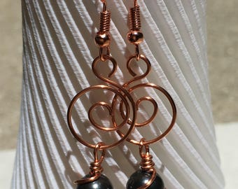 Copper swirl & Black Swarovski pearl earrings