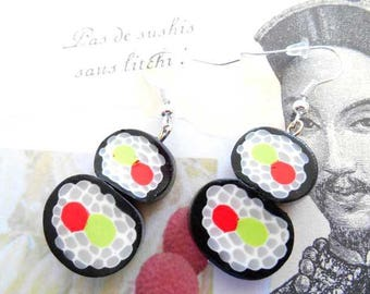 Black and white polymer clay sushi earrings.